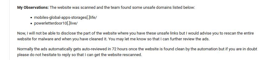 Google ads response